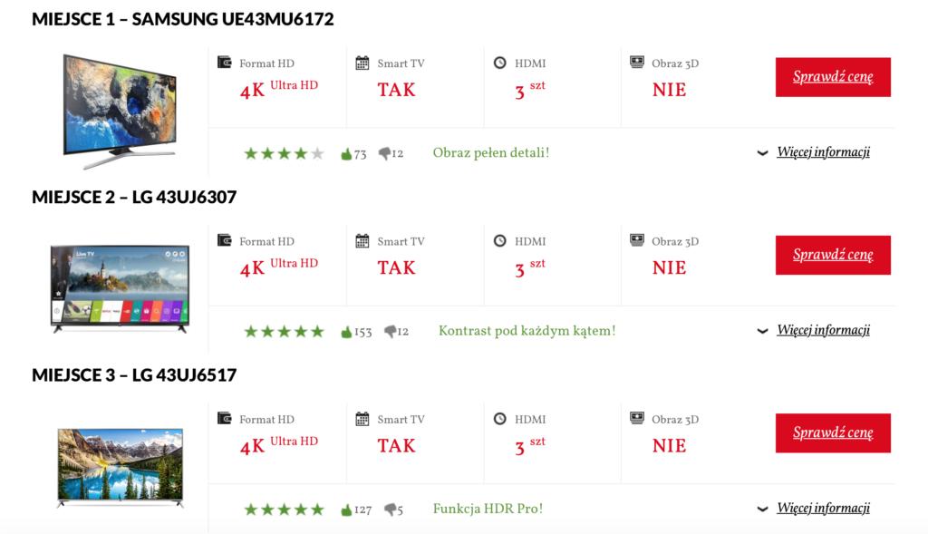"""Ranking Telewizorów 43"""" na stronie PoradyZakupowe.pl"""
